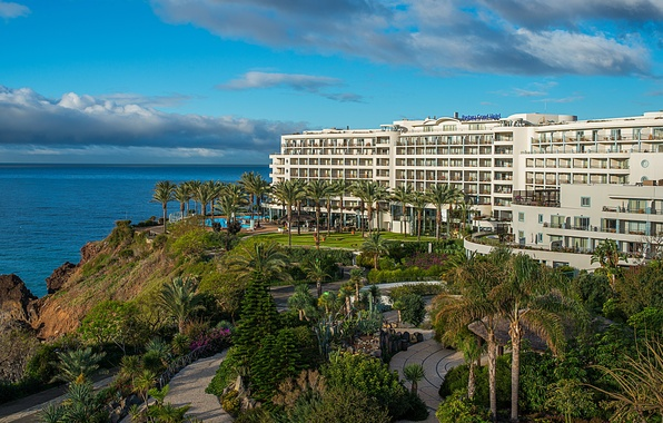 Picture sea, palm trees, shore, the building, the hotel, Portugal, Madeira, Funchal