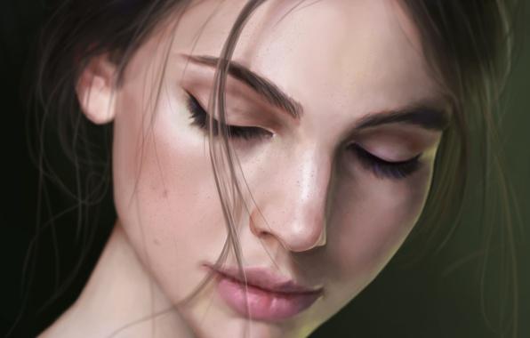 Photo wallpaper girl, face, background, hair, art, freckles