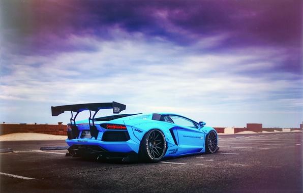 Picture Lamborghini, LP700-4, Aventador, Blue Shark, Liberty Walk Performance