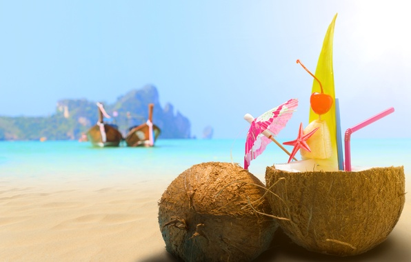 Photo wallpaper sand, sea, beach, coconut, cocktail, drink, beach, sea, sand, drink, cocktail, coconut