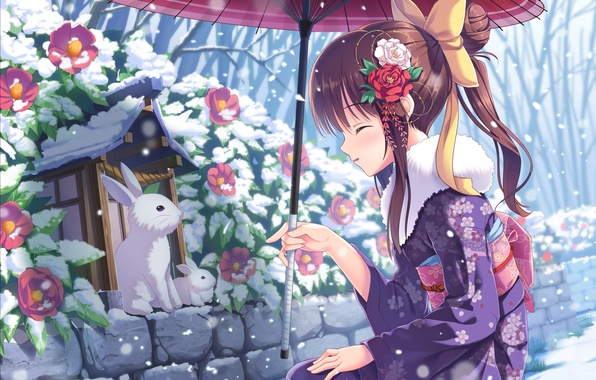 Picture winter, girl, snow, flowers, Bush, umbrella, art, rabbits, white, tonchan