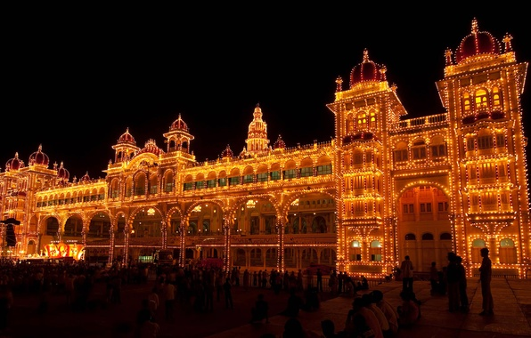 Picture night, lights, India, Palace, festival of dasar, Karnataka, Mysore