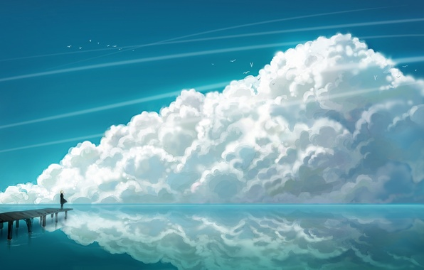 Picture sea, clouds, seagulls, anime, girl