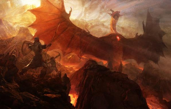 Picture rocks, dragon, war, art, lava, spear, Archer, Dragon's Dogma