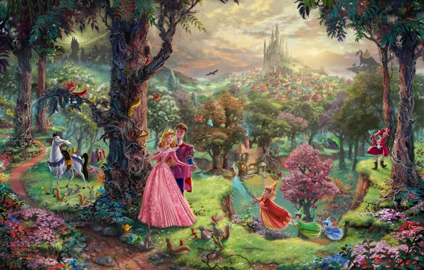 Picture forest, trees, Park, castle, dragon, cartoon, home, tale, painting, art, characters, Thomas Kinkade, painting, castle, …
