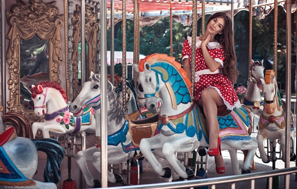 Picture girl, smile, model, horses, dress, shoes, heels, light, carousel, summer, brown hair, mirror, happy, Anna, …