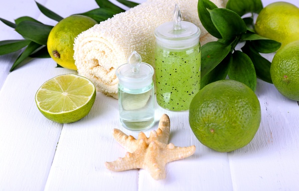 Picture leaves, star, towel, lime, Spa, gel