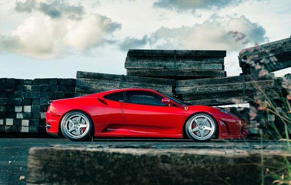 Picture the sky, clouds, red, Board, profile, red, wheels, ferrari, Ferrari, drives, f430, F430
