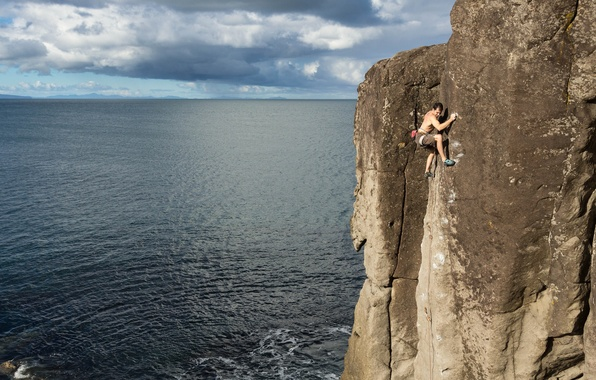 Picture sea, rock, New Zealand, extreme, climber, New Zealand, North island, North Island, James Field-Mitchell