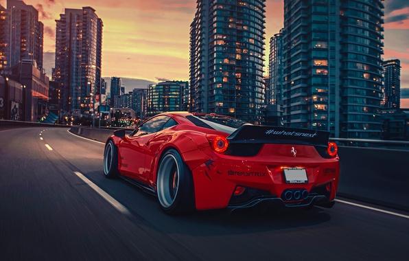 Picture City, Ferrari, Red, 458, Body, Italia, Rear, Kit, Liberty, Walk