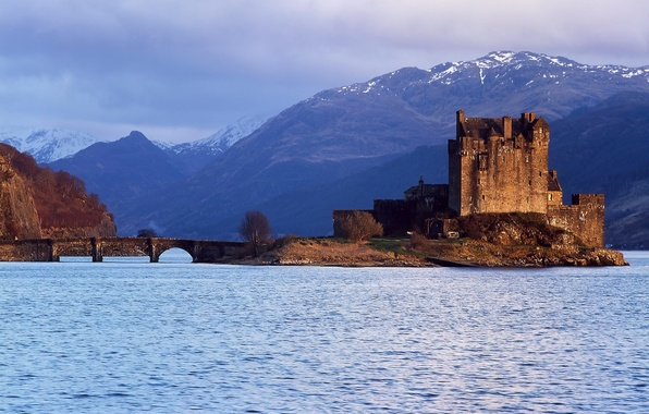 Picture the sky, water, clouds, mountains, Scotland, Castle, Eilean Donan