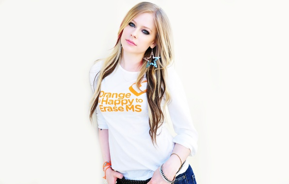 Picture Music, Avril Lavigne, Singer, White Background