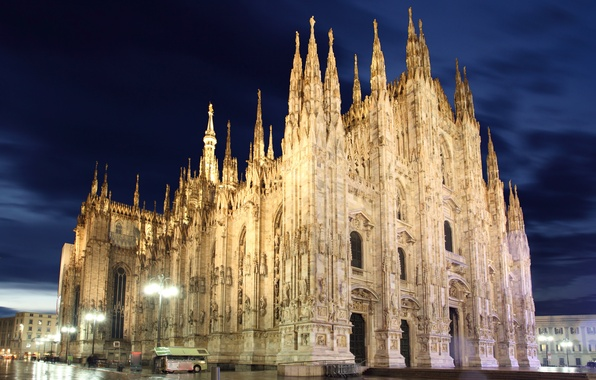 Picture lights, cathedral, Italy, night, Italia, Milan, Milano, church