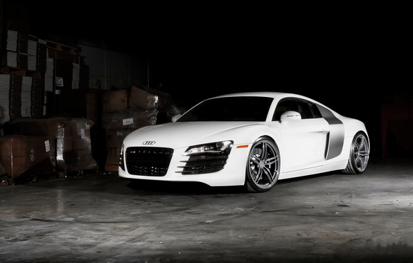 Picture white, Audi, audi, white, front view, tinted
