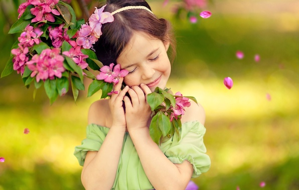 Picture joy, happiness, childhood, smile, emotions, tree, spring, girl, flowering, bliss