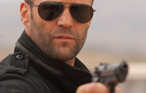 Picture gun, weapons, glasses, actor, male, jason statham