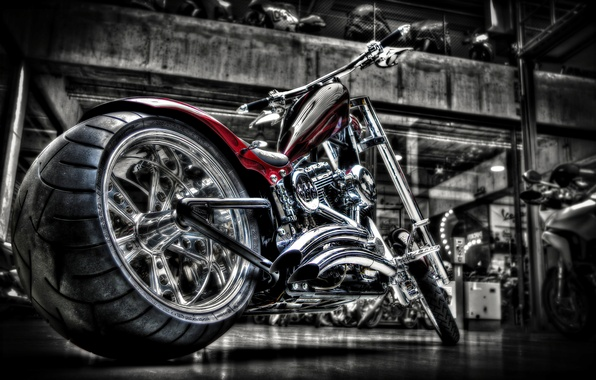 Picture motorcycle, chrome, bike, custom, custom, harley