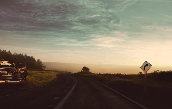 Picture road, machine, the sky, clouds, retro, vintage, stuff