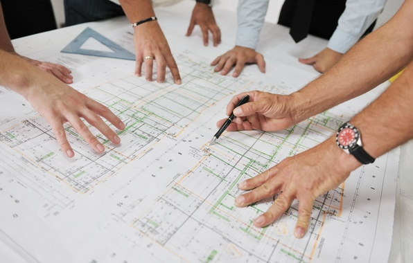 Picture design, team, engineers, architects, styles, designers, construction plans