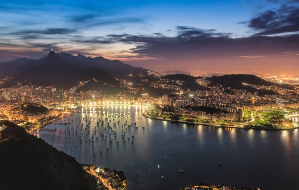 Picture the sky, clouds, sunset, the city, lights, view, Bay, the evening, lighting, panorama, Bay, Brazil, …