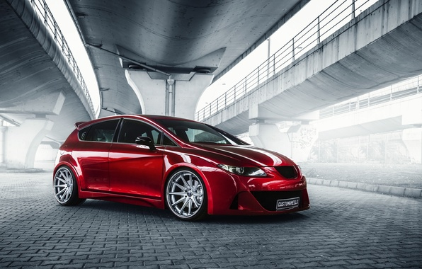 Picture car, red, tuning, Seat Leon