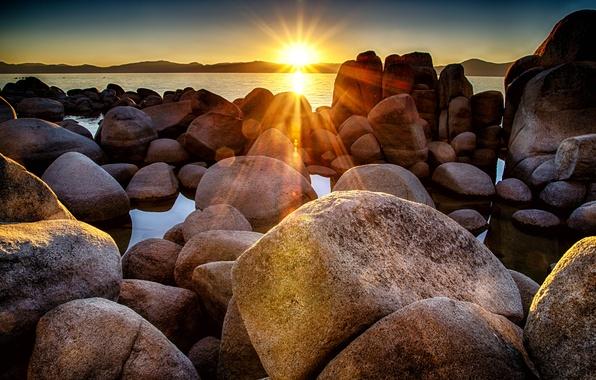 Picture the sun, sunset, stones, shore, Bay, boulders