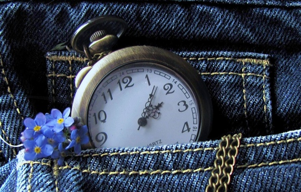 Picture flowers, watch, jeans, chain, pocket