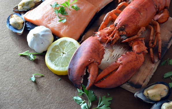 Picture lemon, food, fish, Board, parsley, piece, seafood, garlic, mussels, lobster