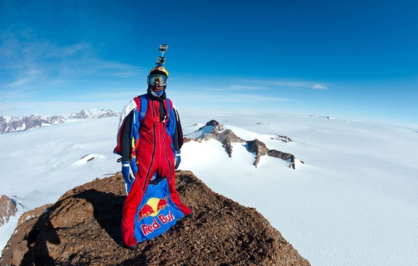 Picture winter, the sky, snow, mountains, glasses, shadows, helmet, pilot, camera, Red Bull, extreme sports, wingsuit, …