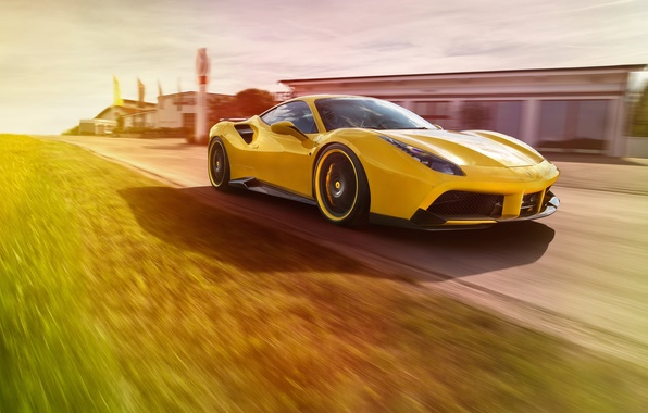 Picture car, machine, track, Ferrari, yellow, speed, track, Rosso, Novitec, 488 GTB