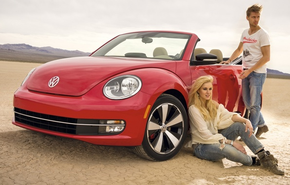 Picture the sky, girl, red, Volkswagen, Beetle, guy, convertible, the front, Beetle, Volkswagen, Convertible