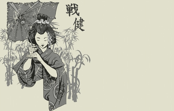 Picture Japanese, figure, umbrella, characters, black and white