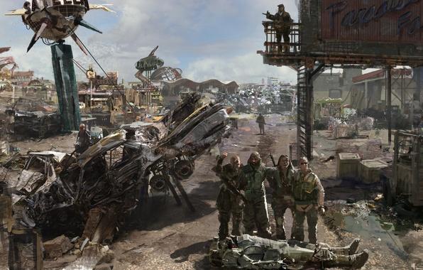 Picture base, dump, metal, barrels, Fallout 3, Paradise Falls