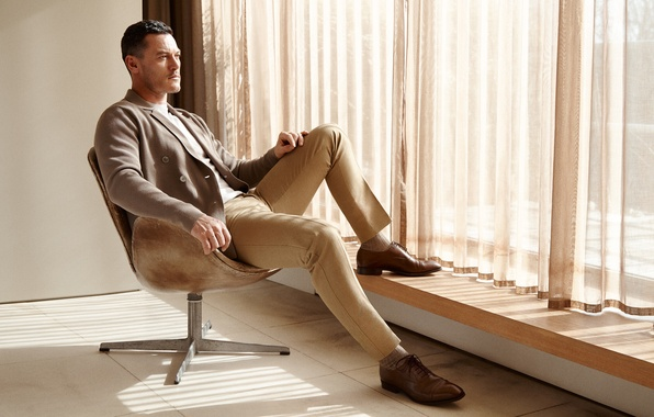Picture pose, chair, window, photographer, costume, shoes, actor, curtains, jacket, journal, photoshoot, pants, Luke Evans, Luke …