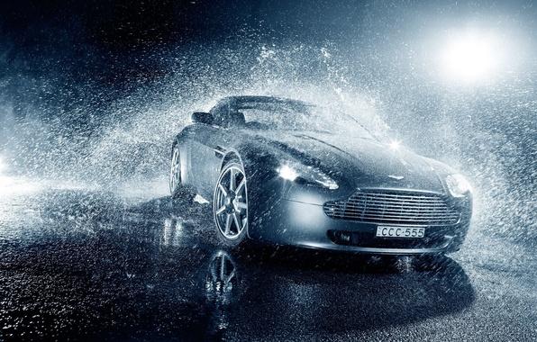 Picture Vantage, Light, Aston, Martin, Water, Rain