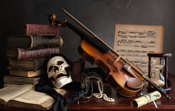 Picture notes, violin, books, skull, necklace, still life, hourglass