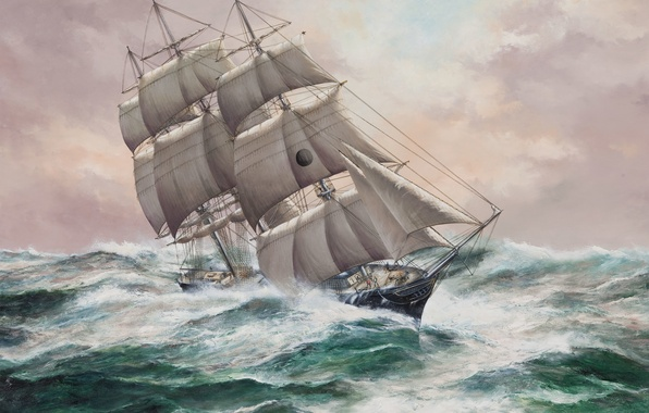 Picture wave, the ocean, figure, sailboat, sails, large, mast, rigging, 'New York', John Bentham-Dinsdale