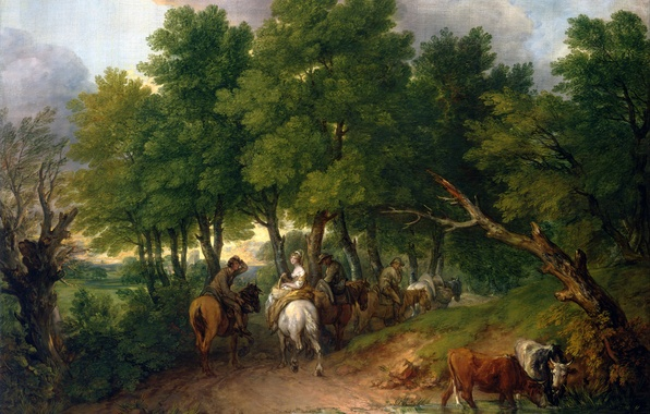 Picture road, trees, landscape, people, cow, picture, horse, Road from Market, Thomas Gainsborough