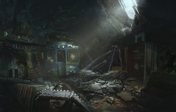 Picture darkness, metro, fiction, train, Lost checkpoint