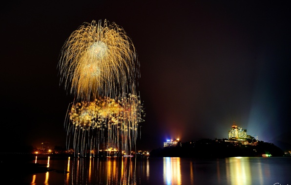 Picture night, the city, lights, lake, reflection, fireworks