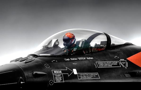 Picture helmet, cabin, pilot, the plane