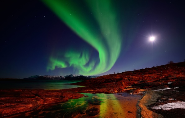 Picture the sky, Islands, stars, mountains, night, the moon, Northern lights, Norway
