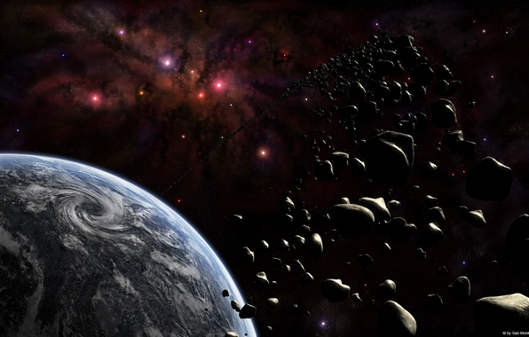 Picture stones, planet, asteroids, ring