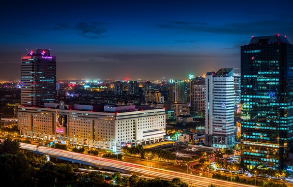 Picture road, night, the city, lights, building, home, skyscrapers, excerpt, lighting, backlight, China, Asia, Shanghai, Shanghai, …