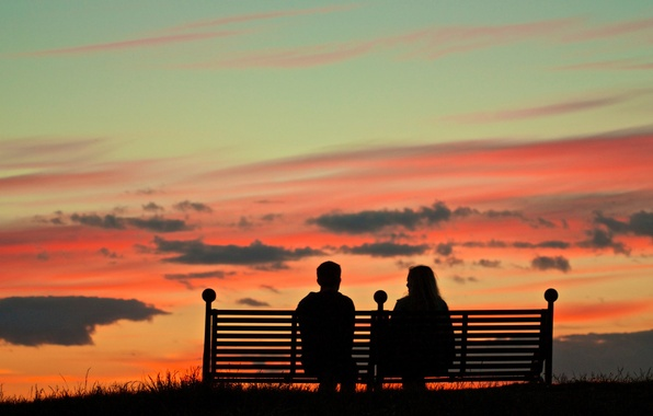 Picture the sky, clouds, the evening, silhouette, pair, glow, bench