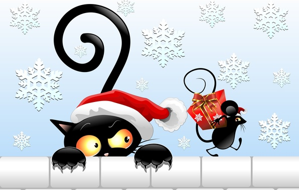 Picture look, gift, hat, new year, vector, mouse, tail, black cat