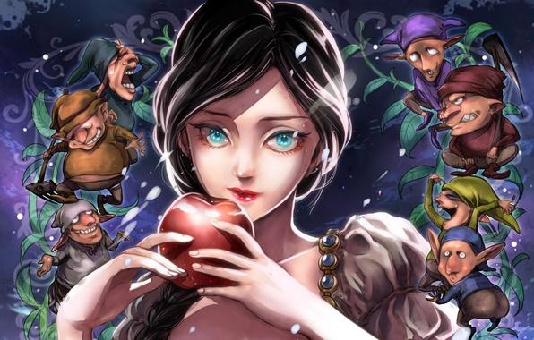 Picture girl, Apple, dwarves, snow white