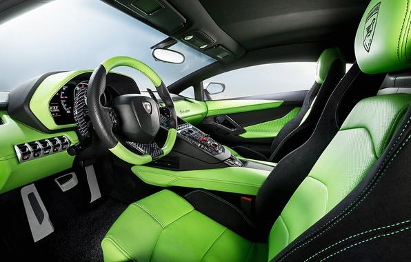Picture Lamborghini, Green, LP700-4, Aventador, 2014, Limited, HAMANN, Salon, Seats, Steering Wheel