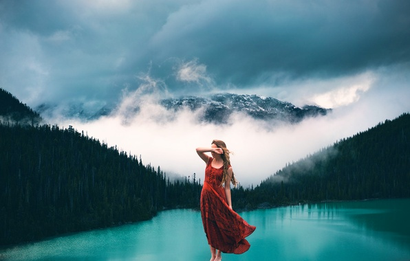 Picture forest, girl, fog, lake, stone, mountain, Lizzy Gadd, Breathing
