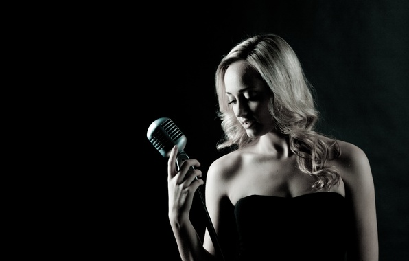 Picture music, woman, microphone, singer